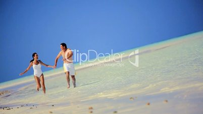 Attractive Couple in Swimwear on Paradise Island
