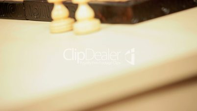 Wood Chess Pieces on Board