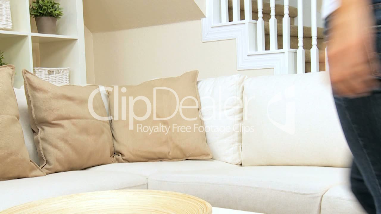 pretty female quietly lying on home sofa royalty free video and