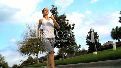 Healthy Caucasian Girl Jogging