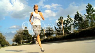 Caucasian Girl Jogging Outdoors