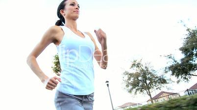Caucasian Girl Jogging Exercise