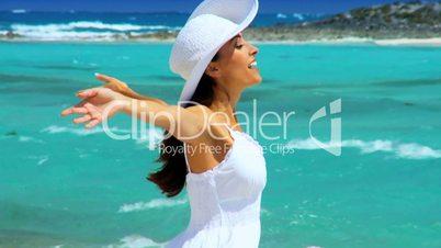 Caucasian Female Enjoying an Island Lifestyle