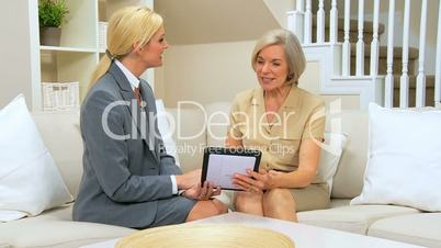 Future Planning for Senior Client With Wireless Tablet