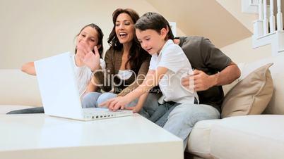 Family Using Modern Internet Webchat