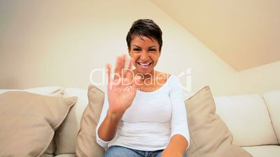Beautiful Ethnic Female Using Interactive Technology