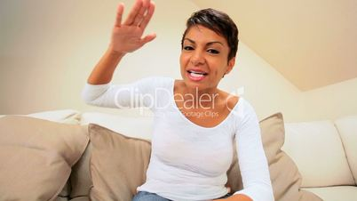 African-American Female Using Interactive Technology