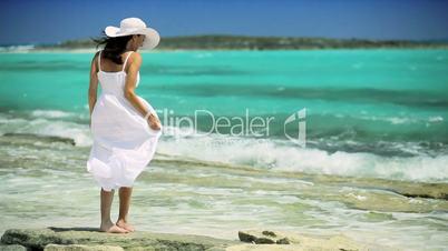 Beautiful Girl Enjoying Her Paradise Island Vacation