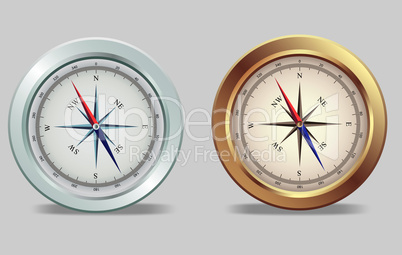 Silver and bronze compasses