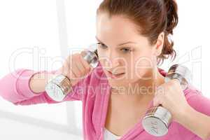 Fitness happy woman exercise dumbbell