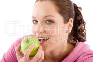 Fitness woman eat apple sportive outfit