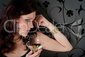 Cocktail party woman evening dress enjoy drink