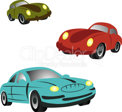 Set of icons with cartoon cars