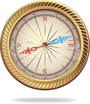 Retro gold compass
