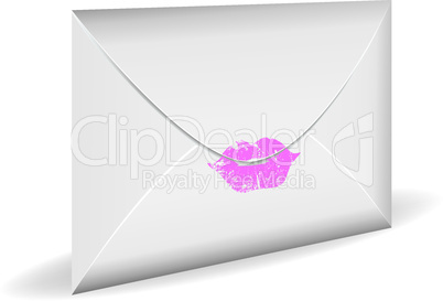 Close envelope with print of kiss