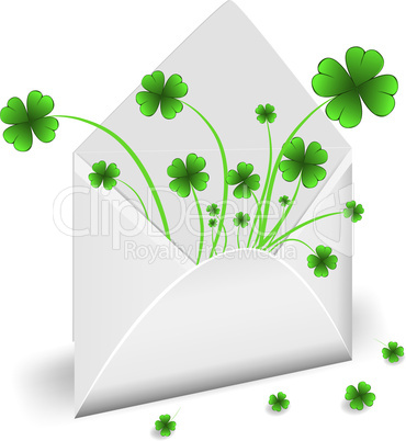 Opened envelope with clover
