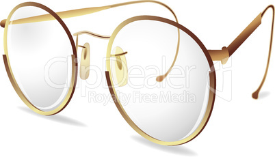 Gold eye Glasses.