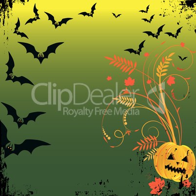 Grunge Halloween frame with bat, pumpkins