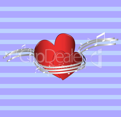 Valentine background, music & romance illustration