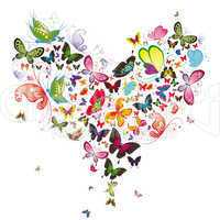 Butterfly heart, valentine illustration. Element for design