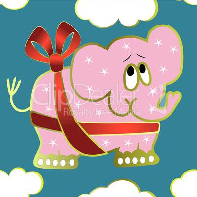 Seamless background with elephant, red ribbon