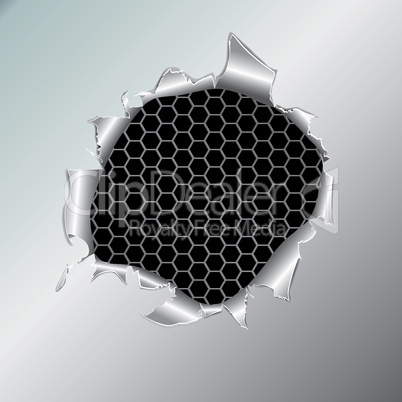 Hexagon metallic background under hole
