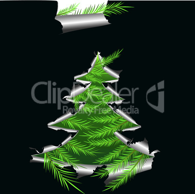 Paper with hole like Christmas tree, elements for design, vector illustration