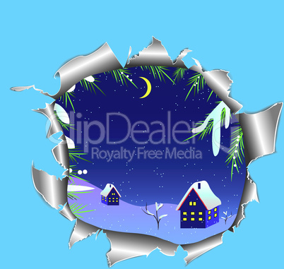 Hole in paper into the winter snowy landscape. Vector illustration.