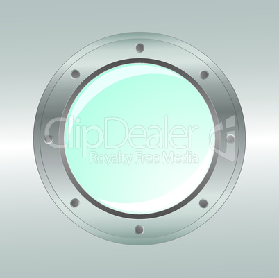 Vector realistic metallic porthole. Element for design