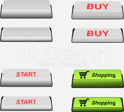 Set of clear, shopping, start and buy button and pressed button. Button on/off.