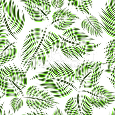 Seamless pattern with green leaf leaves on white background