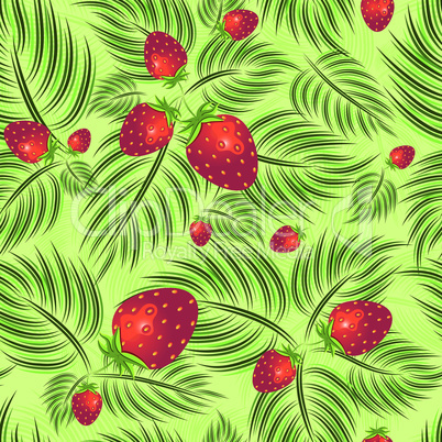 Excellent seamless pattern with strawberry and leaves leaf on green background