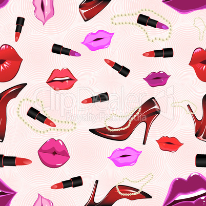 Seamless lips background, with shoe, lipstick.