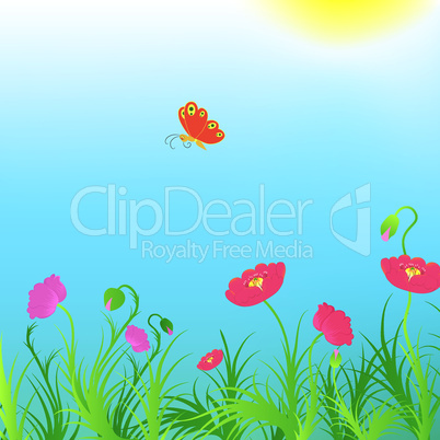 Background with poppies and red butterfly.
