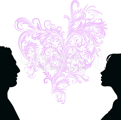 Man and woman face silhouette with heart.