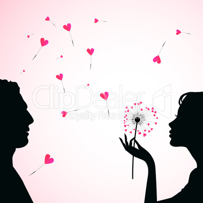 Man and woman face silhouette with flower dandelion heart.