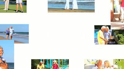 Montage of Senior Couple Enjoying Their Healthy Lifestyle