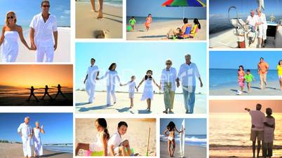 Montage of people enjoying lifestyle activities outdoors