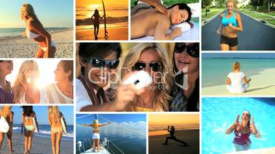 Lifestyle Montage of Female Fitness & Fun