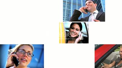Montage of Business People with Cell Phones