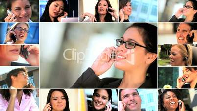 Montage of Business People Using Cell Phone Technology