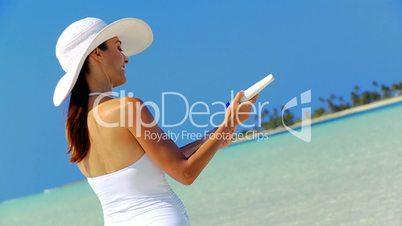 Caucasian Female Applying Sun Protection Cream