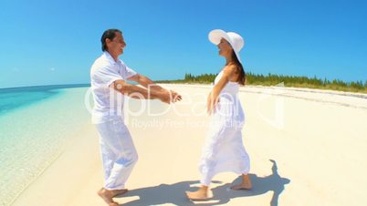 Caucasian Couple on Dream Vacation Island