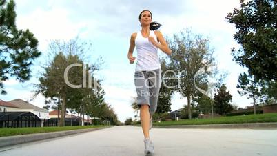 Pretty Girl Outdoors Jogging
