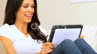 Brunette Girl with Wireless Tablet