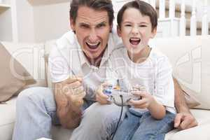 Happy Man & Boy, Father and Son Playing Video Games