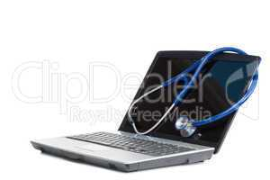 Blue angled stethoscope and laptop