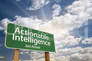 Actionable Intelligence Green Road Sign