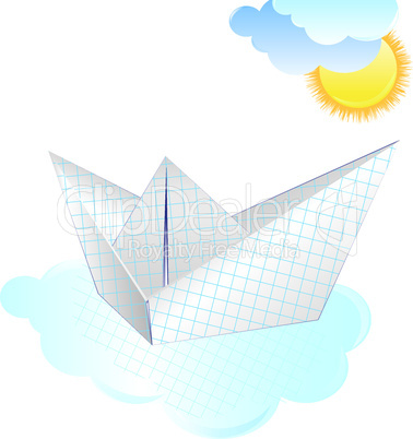 Boat paper ship with sun and cloud. Origami vector
