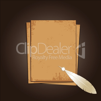 Old paper with feather. Illustration
